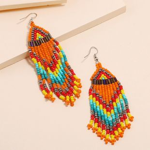 Fashion jewelry nihaojewelry wholesale multilayer rice bead earrings retro long tassel earrings NHKQ213588's discount tags