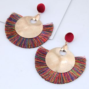 Fashion metal simple metal double circle simple tassel exaggerated fan-shaped temperament earrings wholesale NHSC213665's discount tags