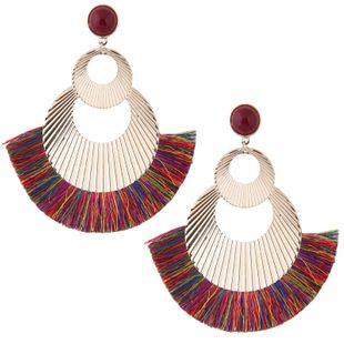 Fashionable metal simple metal double circle simple tassel exaggerated fan-shaped temperament earrings wholesale NHSC213664's discount tags