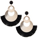 Fashionable metal simple metal double circle simple tassel exaggerated fanshaped temperament earrings wholesale NHSC213664