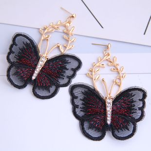 Butterfly earrings nihaojewelry wholesale fashion embroidered butterfly temperament earrings NHSC213662's discount tags