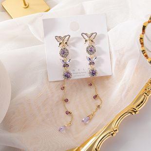 Korean 925 silver earrings yiwu nihaojewelry wholesale new earrings crystal diamond tassel butterfly long earring NHMS213594's discount tags