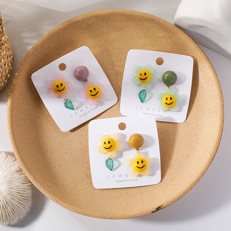 Korean earrings yiwu nihaojewelry wholesale cartoon smiley face flowers leaves asymmetric big earrings sweet earrings NHMS213601's discount tags
