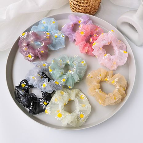 Net yarn small daisy hair scrunchies forest department flower hair rope large intestine circle nihaojewelry wholesale girl heart rope Korean hair ornament headdress NHMS213602's discount tags