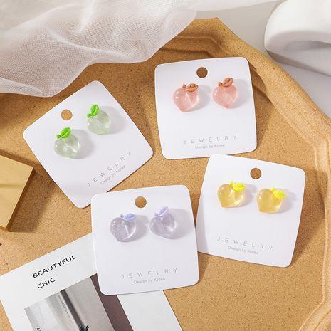 Korean sweet peach earrings yiwu nihaojewelry wholesale girl cute color peach earring NHMS213603's discount tags