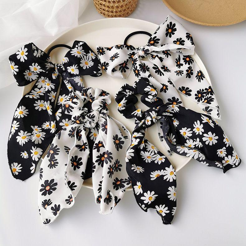 Korean daisy bow hair band hair scrunchies hair rope tied hair rubber band long streamer head rope ponytail hair band NHMS213612