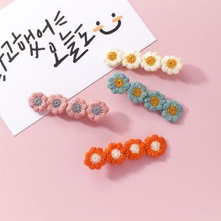 Verano dulce color margarita flor de terciopelo horquilla dulce popular punto pequeño encaje clip moda accesorios para el cabello al por mayor NHMS213615