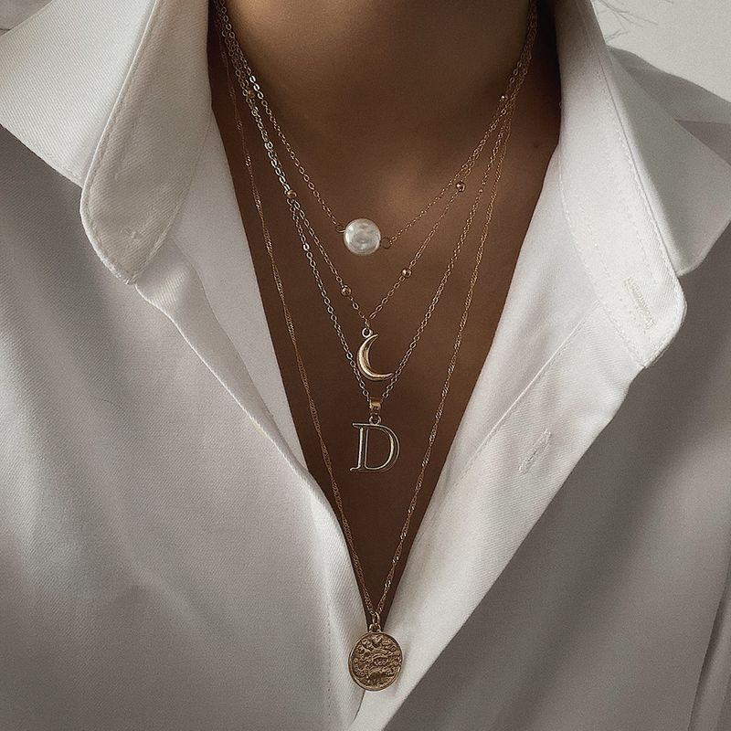 Fashion jewelry yiwu nihaojewelry wholesale embossed geometric coins necklace retro multiple imitation pearl letter pendant necklace NHXR213629