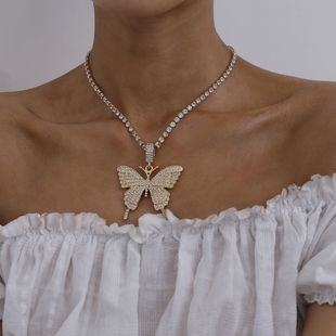 Fashion Jewelry yiwu nihaojewelry Wholesale Single Layer Claw Chain Diamond Necklace Exaggerated Diamond Large Butterfly Necklace NHXR213633's discount tags