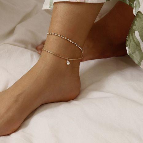 Bijoux de mode en gros Simple Double griffe chaîne diamant plage pieds Zircon gland pendentif cheville NHXR213650's discount tags