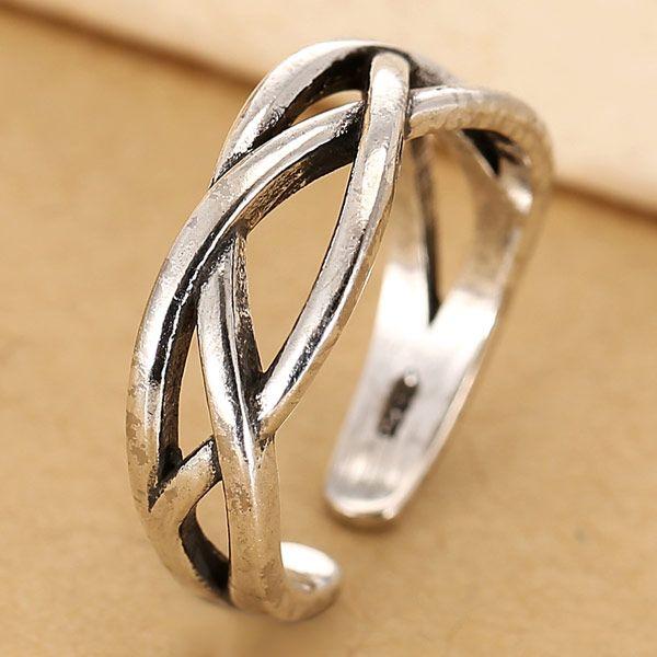 Fashion same ring wholesale metal retro woven open ring NHSC213748