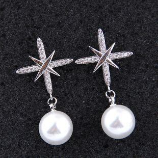 Korean earrings nihaojewelry wholesale fashion sweet OL zirconium elegant pearl earrings NHSC213741's discount tags
