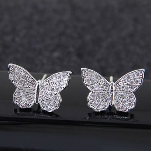 Exquisite stud earrings nihaojewelry wholesale Korean fashion sweet zirconium butterfly earrings NHSC213740's discount tags