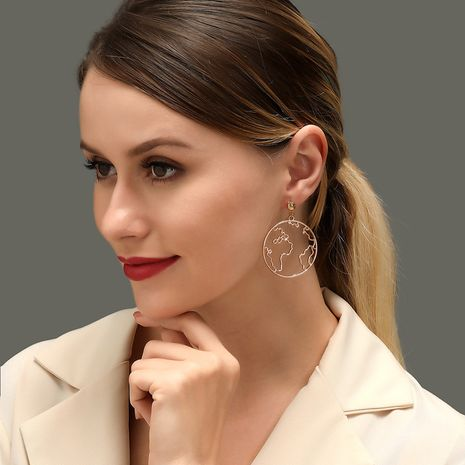 New exaggerated map earrings creative design world map earrings simple round hollow earrings NHDP213681's discount tags