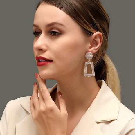 The new long flash diamond geometric earrings fashion exaggerated diamond square hollow earrings NHDP213682's discount tags