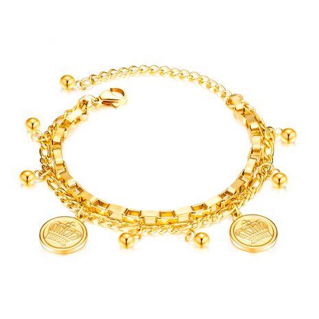 Coréenne nouvelle mode couronne ronde perle mode sauvage multicouche bracelet en acier inoxydable nihaojewelry gros NHOP213693's discount tags