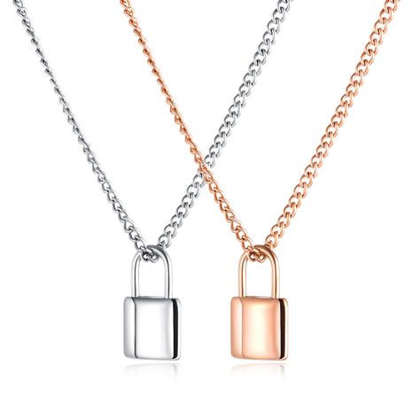 New retro long paragraph wild lock pendant necklace geometric creative clavicle chain nihaojewelry wholesale NHOP213702's discount tags