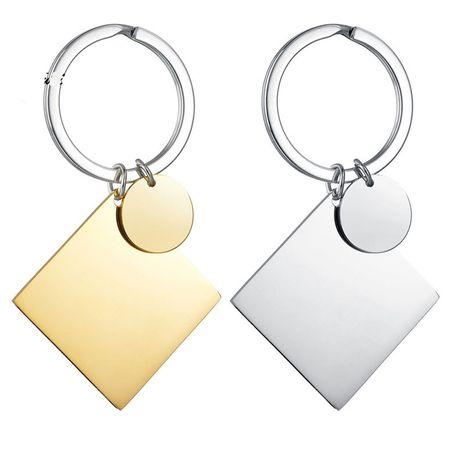 Nouveau bricolage couple ornements en acier inoxydable lettrage cercle carré porte-clés nihaojewelry gros NHHF213703's discount tags