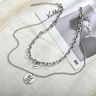 New hip-hop glossy round brand mom letter necklace titanium steel double-layer necklace nihaojewelry wholesale NHHF213707's discount tags