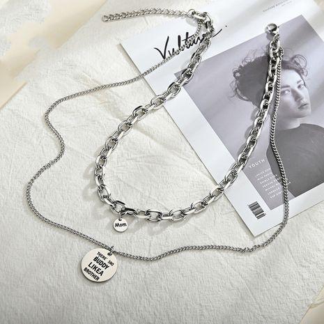 Nouveau hip-hop brillant rond marque maman lettre collier titane acier double couche collier nihaojewelry gros NHHF213707's discount tags