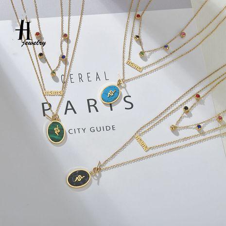 Nouveau créatif coloré diamant émeraude turquoise multicouche alphabet collier en acier inoxydable ovale serpent collier NHHF213712's discount tags