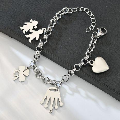 Nouveau simple chanceux trèfle à quatre feuilles bracelet en acier inoxydable couronne amour bracelet nihaojewelry gros NHHF213716's discount tags