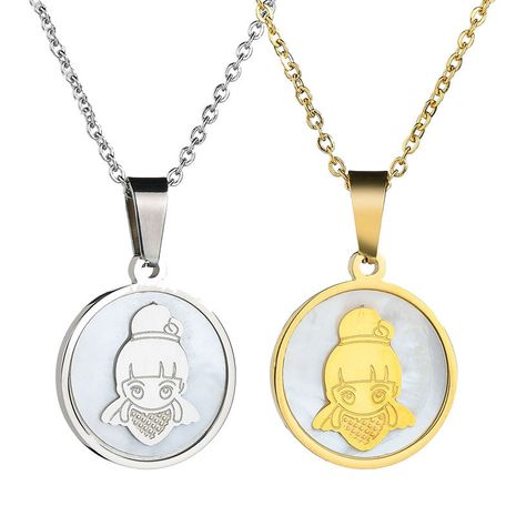 Coréen nouvelle mode simple 18 K or rond ange petite fille collier en acier inoxydable collier nihaojewelry gros NHHF213717's discount tags