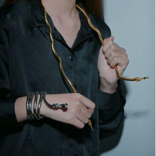 New trend fashion free folding snake-shaped bracelet metal diamond snake necklace nihaojewelry wholesale NHHF213723's discount tags