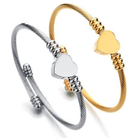 Simple Bracelet D'amour Brillant En Gros Titanium Acier Lettrage Câble Fil Ouverture Bracelet NHHF213726's discount tags