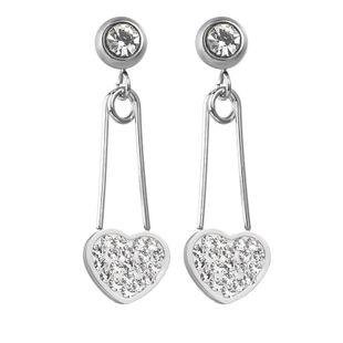 New fashion geometric exaggerated diamond zircon pin earrings titanium steel love earrings long earrings NHHF213727's discount tags