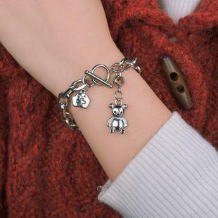 New fashion hip-hop dark bear bear bracelet word buckle titanium steel bracelet nihaojewelry wholesale NHHF213729's discount tags