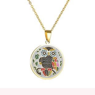 New fashion retro color dripping oil 18K golden owl necklace titanium steel life tree round pendant NHHF213734's discount tags