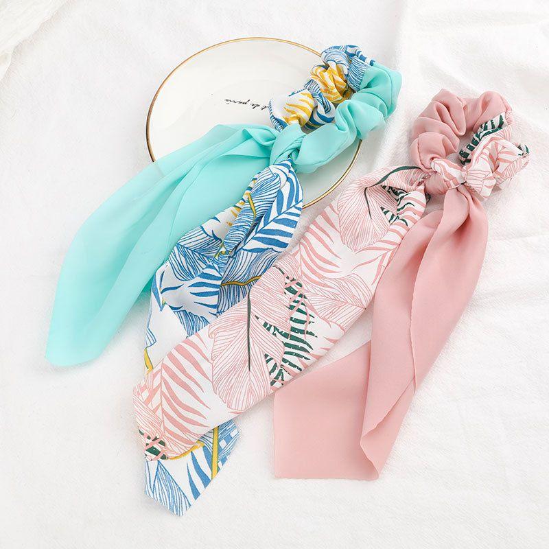 nihaojewelry wholesale flowers and plants printing tassel hair circle Korean fashion floating towel cheap scrunchies NHJE213754