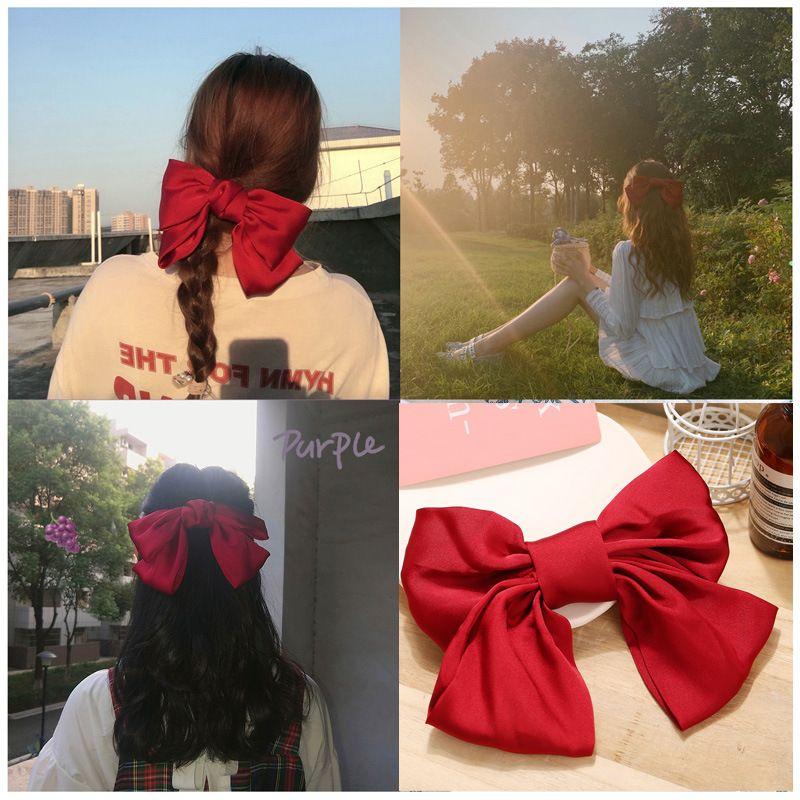 Retro romantic red big bow hairpin china nihaojewelry wholesale simple headdress hair scrunchies hair clips NHPJ213763