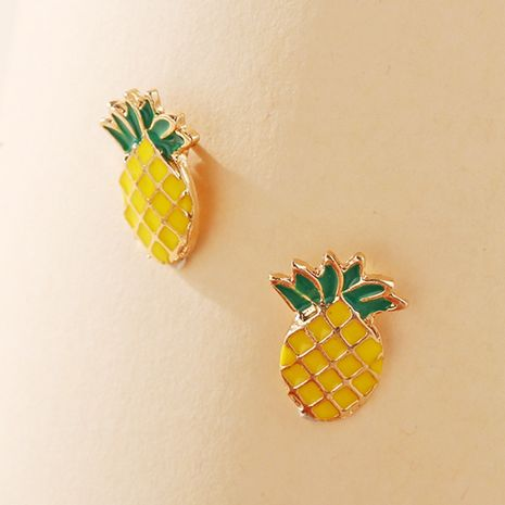Pineapple stud earrings yiwu nihaojewekry wholesale Korean simple pineapple earrings fruit earrings creative retro alloy earrings NHPJ213771's discount tags