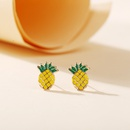 Pineapple stud earrings yiwu nihaojewekry wholesale Korean simple pineapple earrings fruit earrings creative retro alloy earrings NHPJ213771