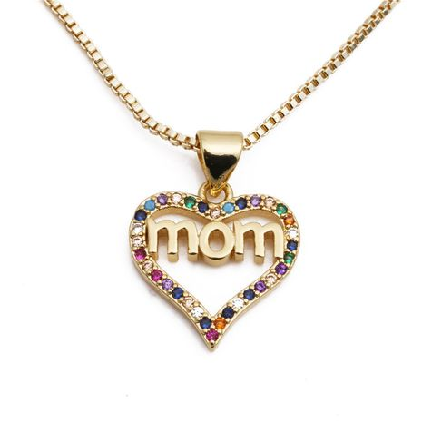 Korean new micro-set color zircon MoM pendant necklace nihaojewelry wholesale NHYL213772's discount tags