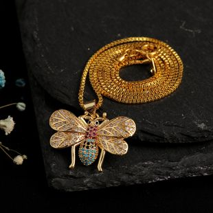 New cute insect bee zirconium necklace wholesale nihaojewelry NHLA213805's discount tags