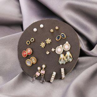 Korean new simple cute crystal opal earrings round leather earrings set nihaojewelry wholesale NHSD213808's discount tags