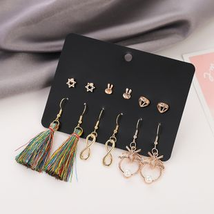 New popular 6 piece set colorful cotton and linen tassel earrings set nihaojewelry wholesale NHSD213809's discount tags