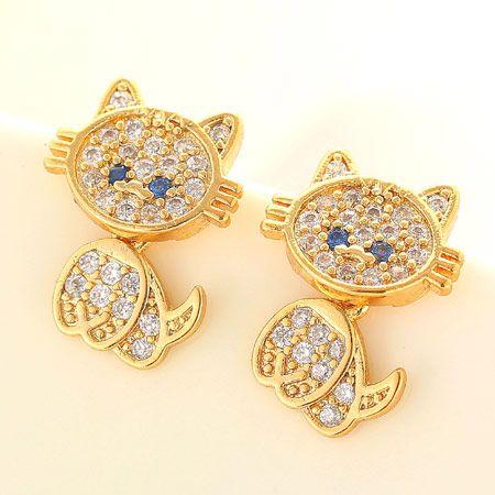 Korean fashion sweet OL bright cute cat copper zircon earrings nihaojewelry wholesale NHSC214064