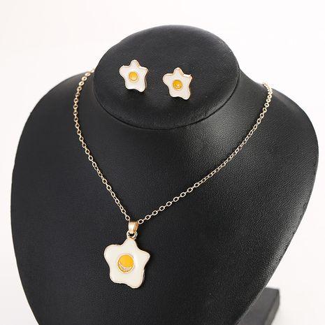 Coréen nouveau mignon oeuf poché boucles d'oreilles simple collier oeuf poché ensemble nihaojewelry gros NHSD213821's discount tags