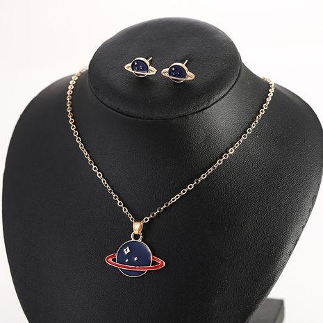 Nouveau bleu planète boucles d'oreilles étoile géométrique rond pendentif long collier ensemble nihaojewelry gros NHSD213825's discount tags