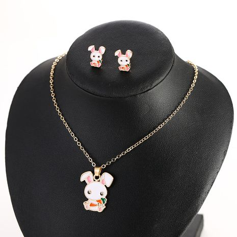 Coréen nouveau blanc lapin boucles d'oreilles mode animal sauvage pendentif collier nihaojewelry gros NHSD213828's discount tags