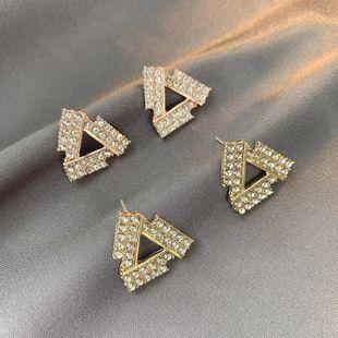 Simple S925 silver needle triangle earrings Korean fashion rhinestone earrings nihaojewelry wholesale NHSD213829's discount tags