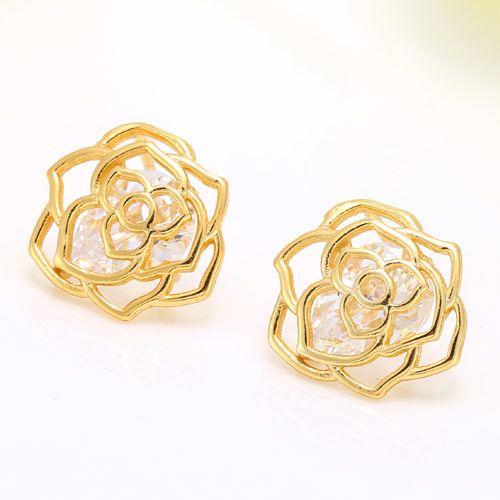 Korean fashion sweet OL rose copper zircon earrings nihaojewelry wholesale NHSC214063