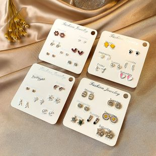 S925 silver needle micro-set zircon short earrings wild simple seven-piece earrings wholesale nihaojewelry NHSD213835's discount tags