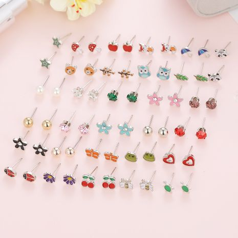 30 paires de boucles d'oreilles en acier inoxydable couleur mixte animal mignon ensemble nihaojewelry en gros NHSD213840's discount tags