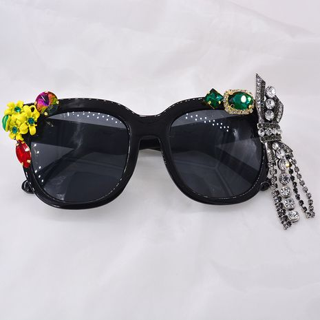 Nouvelle mode baroque lunettes de soleil à monture en métal avec cristal mode grand cadre lunettes de soleil nihaojewelry gros NHNT213857's discount tags