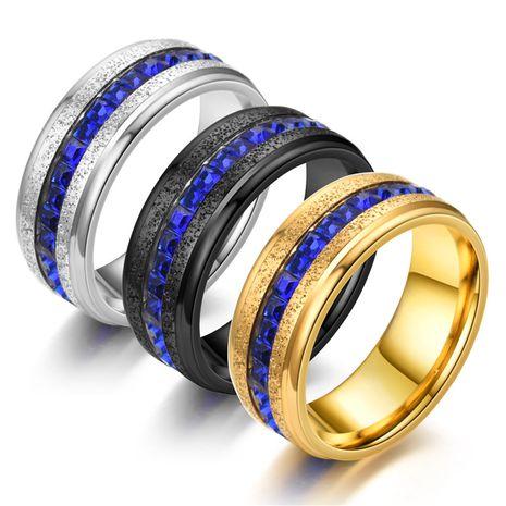 Nuevo Anillo de arena de perlas Anillo azul Acero inoxidable Deslumbrante Fila única Perímetro Cuadrado Anillo de diamantes yiwu nihaojewelry Venta al por mayor NHTP213860's discount tags